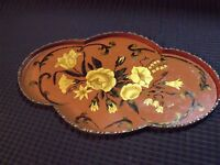 """ANTIQUE HAND PAINTED FLOWERS AND VINES 11 1/2"""" CHINA STAMPED BRASS TRAY"""