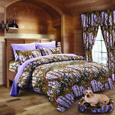14 PC LAVENDER CAMO COMFORTER SHEET AND CURTAIN SET TWIN  CAMOUFLAGE BEDDING