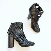Tory Burch Grove Woven Bootie womens size US 7.5 Leather Openwork block heel