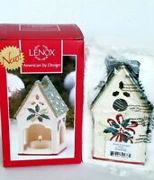 Lenox Votive Tealight Candle Holder Winter Greeting Birdhouse Earthenware 2014