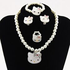 Set For Princess Kitty Imitation Pearl Bracelet Ring Clip On Ears Necklace Girls