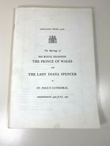 Metropolitan Police Operation Order - Marriage Of Prince Of Wales & Lady Diana