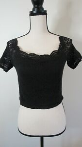 Hollister Women's Black Lined Lace Overlay Short Sleeve Crop Top Blouse Size L