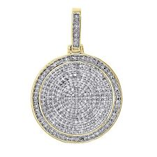 Summer 0.75Ct Diamond 14K Yellow Gold Finish Cluster Medallion Pendant Men's