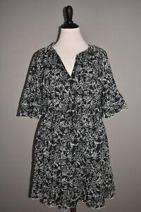 PARKER NEW $298 Floral Print A-line Cotton Mini Dress Black Aurora Large