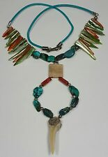 Jewelry Necklace White Shark Tooth Turquoise Stone Green Brown Pearl Shell #3258