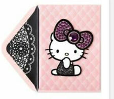 PAPYRUS SANRIO HELLO KITTY GEMMED LARGE BOW BLANK INSIDE CARD ANY OCCASION