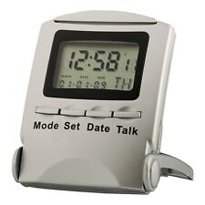 Acctim Folding Talking Travel Alarm Clock in silver (our ref 4rob)