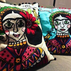 "Frida Kahlo Cushion cover Antler Embroidered pompom 19x19"" hippy ethnic Ian Snow"