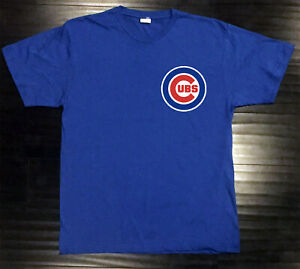 Chicago Cubs T-Shirt Graphic Chi Cotton Men Adult Logo Jersey Word Pocket Chest