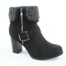 Women's Fashion Buckle Cuff Combat Chunky Heel Ankle Booties Size 5 - 10 NEW