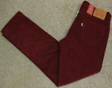 Levis 511 Slim Fit Low Rise Red Velvet Stretch Denim Jeans Pants NEW Men 32x32