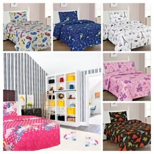 3PC Kids Sheet Set Twin Fitted Printed Designs Girls & Boys Dinosaurs Princess