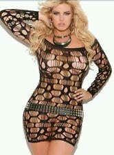 One Size Plus Black Mini Dress #14 Stretch SEXY Fetish Lingerie Bodycon Fishnet