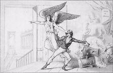 ALLÉGORIE RÉVOLUTIONNAIRE : Le PÈRE DUCHESNE & ses FOURNEAUX  Gravure du 19e s.