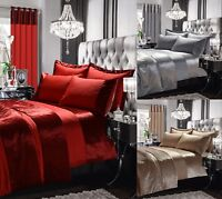 New CRUSHED VELVET Luxury Duvet Quilt Cover Bedding Set SILVER RED MINK All Size
