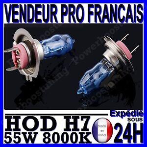AMPOULE PLASMA HOD H7 55W LAMPE HALOGENE FEU EFFET XENON BLANC BLANCHE 8000K 12V