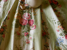 Antique English Roses Garland Ribbon Bow Polished Cotton Fabric~sage pink ~ Bty