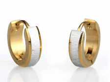 2PCS Stainless Steel Men Women Earrings Gold Silver Punk Hoop Huggie Stud Cuff N