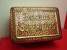 Jolie ancienne boite en métal, biscuits supérieurs, rouge et or