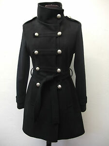 Ladies Black Navy Double Breasted  Military Coat Sizes  8 10 12 14 16 18 20 22