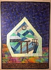 "Abstract Home Art Quilt Wall Hanging 39 ""X 29"" Handmade"