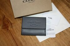 36d59132e856 Coach Mens Coin Case In Graphite Smooth Leather Small Snap Wallet Retail   95 New