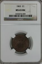 1865 .02 NGC MS65BN Two-cent piece, 2c, Shield Coin, 1800's coinc