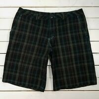 SIMS Golf Shorts Mens Large Black Cotton Bermuda Walking Plaid SH217