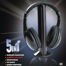 5 in 1 Wireless Headphone Cordless Headset Earphone for MP3 PC Stereo TV FM iPod