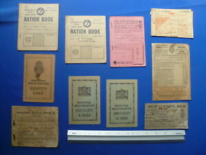 1918 to 1954 inc. WWII  Ration Books,Clothing Books,Identity Cards etc All Shown
