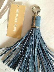 MSRP$58 Michael Kors Handbag leather Key-Tassel-Fob Charm silver   Sky Blue