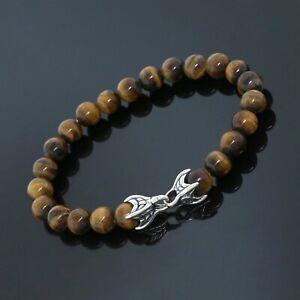 "David Yurman Sterling Silver 8mm Tiger Eye Spiritual Beads Men Bracelet 8.25"""