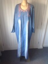 VINTAGE LADIES DENIM LONG KAFTAN DRESS EMBROIDERED Sz XXL UK 22-24 Ethnic Hippy