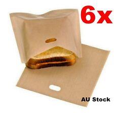 6x Reusedable Toast Bag Toaster Bag Toasty Oven Heating Baking Pocket 17x19cm AU