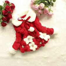 Girls Winter Faux Fuzz Fleece Coat Jacket Kids Floral Princess Outfits Outwear