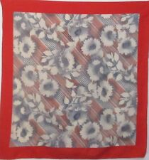 """TERRIART Red, Gray, Blue Flowers, Stripes 26"""" Square Scarf-Vintage"""