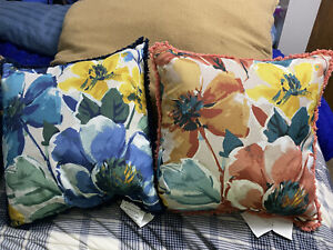 "2 - 18"" By 18"" Flower Throw Pillows"