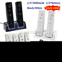 2/4 Charging Charger Dock Station+2/4 Battery For Nintendo Wii Remote