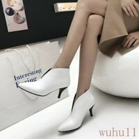 Women's Pointy Toe Med Kitten Heel Ankle Riding Boots Slip On Fashion Spring Hot