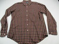 Ralph Lauren Mens Button Front Shirt Reds Check Long Sleeve Medium Custom Fit