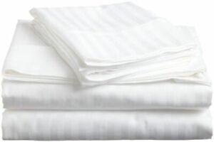 Premium Egyptian Cotton 1200 TC Duvet Set +Fitted Sheet White Striped All Sizes