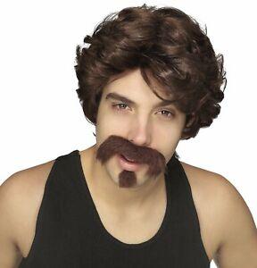 Big John Adult Wig Moustache Goatee SET Brown Uncle Rico 70s 80s Star Dirtbag