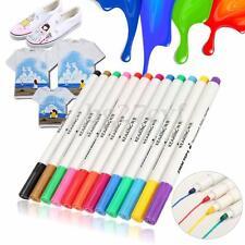 DIY T-Shirt Permanent Clothes Shoes Fabric Textile Paint Marker Pens 12 Colours