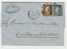 STORIA POSTALE 1859 SICILIA 1 GR. VERDE OLIVA II° TAV.RITOC.59+2 GRAZZVIVO Z/500