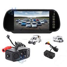 """Kit Retromarcia Specchietto 7"""" Retrocamera Doppio Sensore di Parcheggio Auto"""