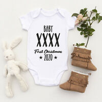 Personalised First Christmas Baby Grow Bodysuit Custom Vest Any Name Xmas