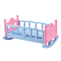 Baby Doll Cradle Crib Rocking Bed Playset for Mellchan Dolls Decorative