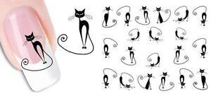 Black Cats Modern Nail Art Sticker Decal Decoration Manicure Water Transfer