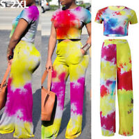 Hot Women Short Sleeve Jumpsuit Romper Top Long Trousers Wide Leg Pants Playsuit